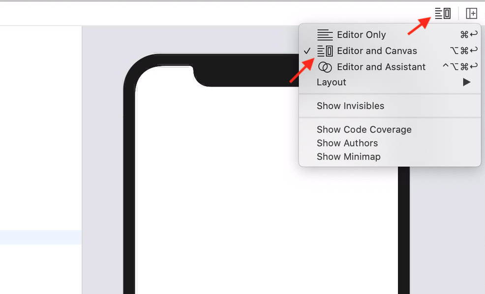 Fig.5 - To get the Live Preview working, be sure to be in Catalina 10.15 and have enabled the Canvas panel.